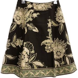 Ann Taylor Brown Floral Full Skirt Size 0